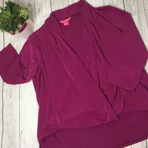 Tops - Sunny Leigh raspberry ruched front top